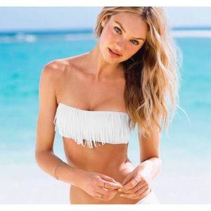 Victoria's Secret White Fringe Bandeau Bikini Top